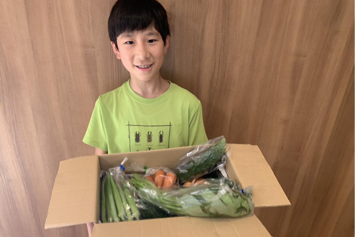 おまかせ野菜BOXを抱える少年の画像